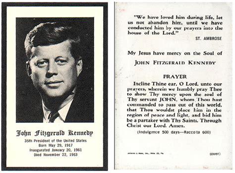 catholic prayer card template f kennedy prayer card collectors weekly