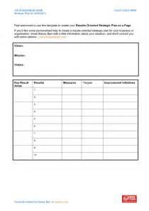 One page strategic plan template in Word and Pdf formats