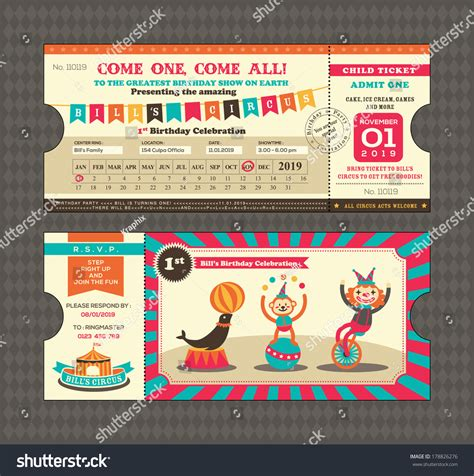 Ticket Place Card Template by Birthday Card Circus Ticket Pass Design Stock Vector
