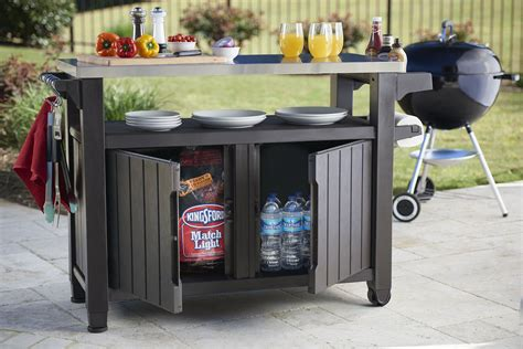 outdoor cooking prep table keter unity xl indoor outdoor entertainment bbq storage