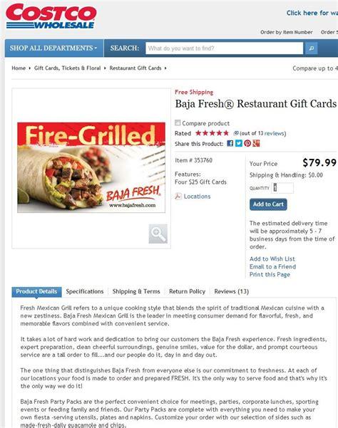Baja Fresh Gift Card - baja fresh restaurant discount gift card