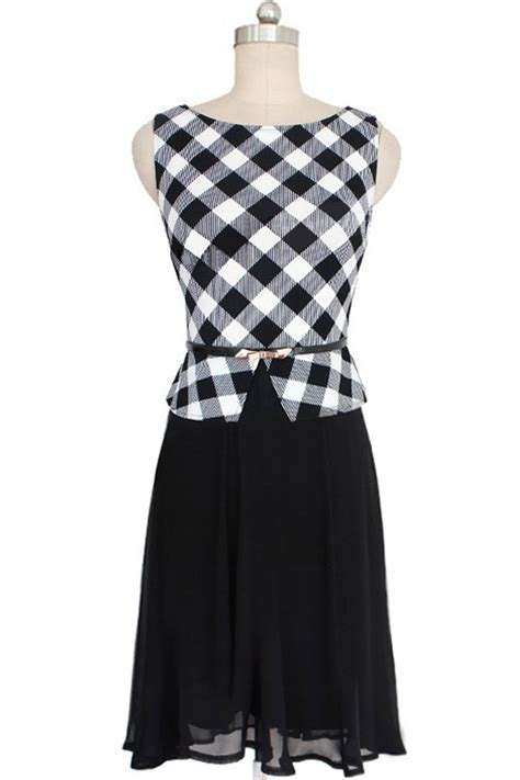 black and white pattern skirt outfit jhonpeter women sleeveless plaid pattern skirt halter