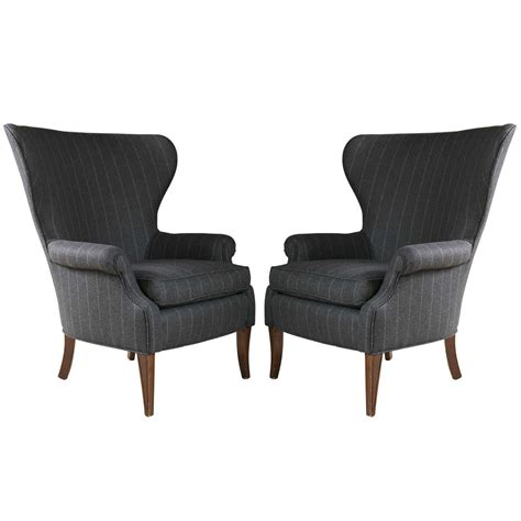 Pinstripe Armchair Pair Of Mid Century Wingback Chairs With Pinstripe