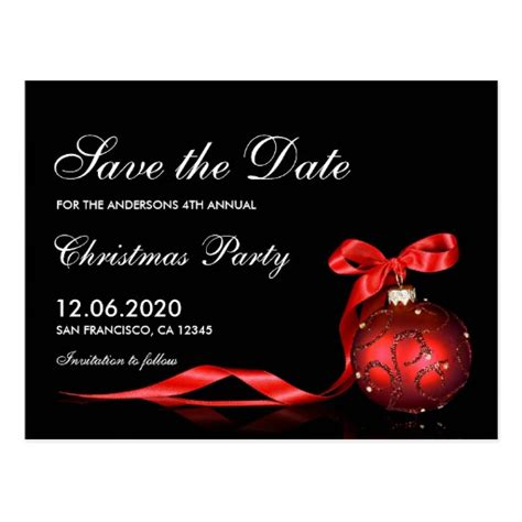christmas holiday party save the date postcard zazzle