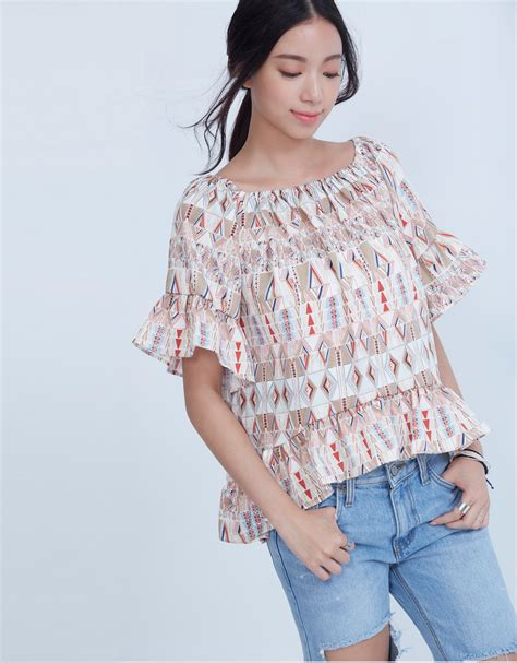 Blouse Fashion Korea 420103 5 kodz womens printed boat neck blouse japanese korean fashion ebay