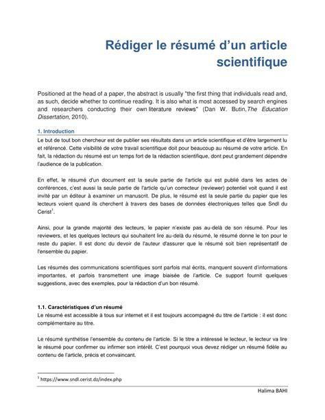 Resume D Un pdf r 233 diger le r 233 sum 233 d un article scientifique