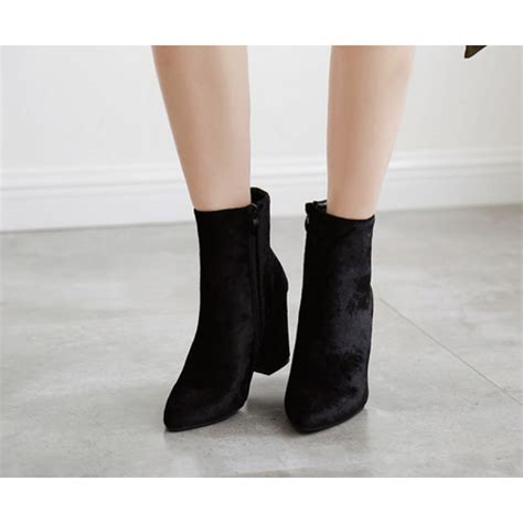 black velvet flared heel ankle boots