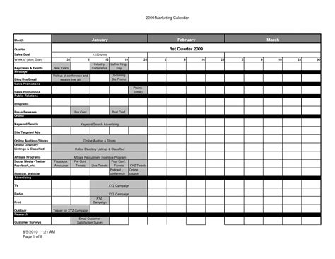 marketing planner template marketing calendar template cyberuse