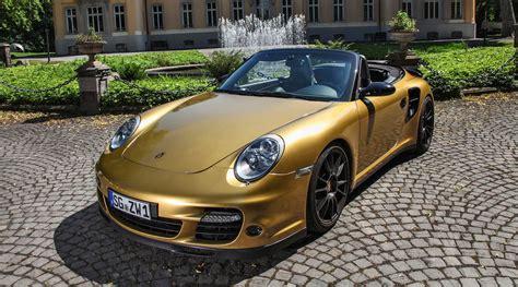 gold porsche black gold 840hp 226mph porsche 911 turbo cabrio by