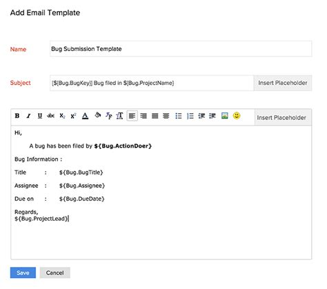 Email Templates For Bugs Online Help Zoho Projects Zoho Creator Email Template