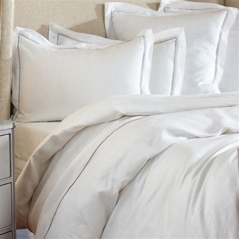white and silver bedding piped white silver linen bedding gump s