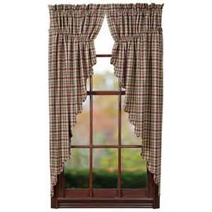 Country Plaid Curtains Jackson Prairie Curtain Rustic Country Green Burgundy Plaid Primitive Vhc Ebay