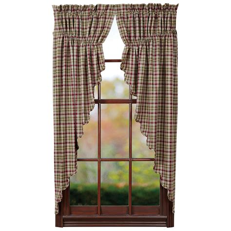 Beths Country Primitive Home Decor by Jackson Prairie Curtain Rustic Country Green Burgundy Tan