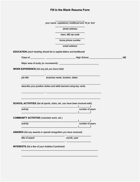 Fill In Blank Resume Template Pdf Resume Template Cover Letter Fill In Resume Template Pdf