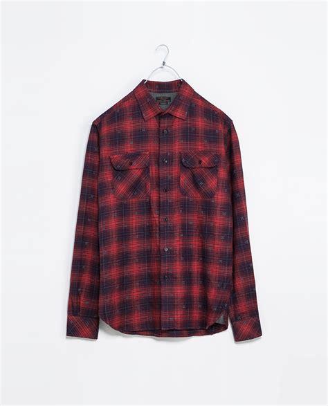 Zaraman Cotton Shirt zara printed flannel shirt in for lyst