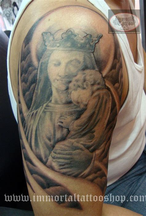 half sleeve mary with jesus baby tattoo tattooshunt com