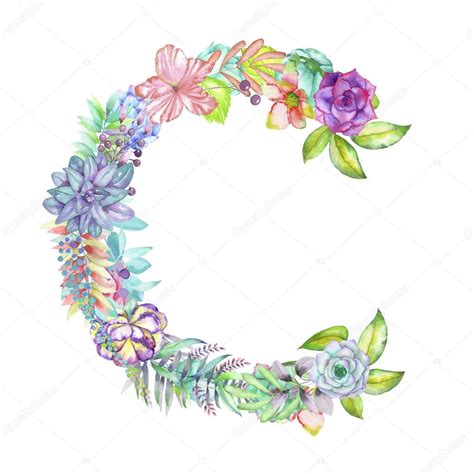 c de fiori capital letter c of watercolor flowers isolated