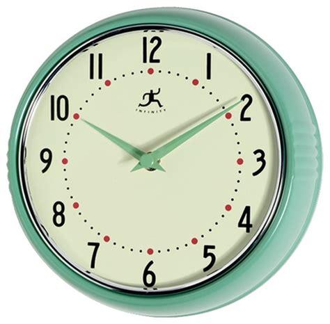infinity retro wall clock infinity instruments retro 9 1 2 inch metal wall