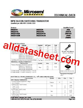 transistor datasheet 2n2222a 2n2222a datasheet pdf microsemi corporation