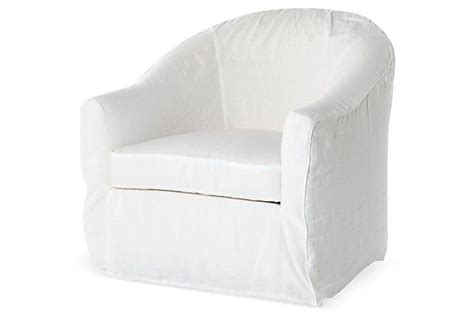 barrel slipcover chair white on onekingslane things