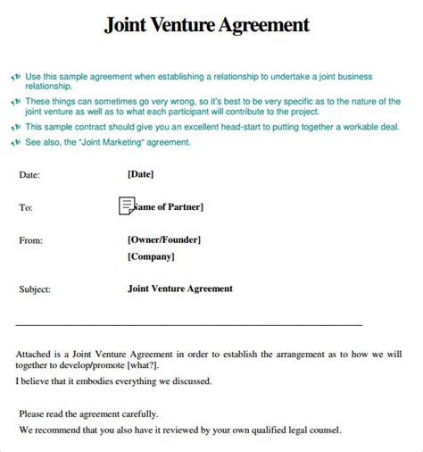 28 joint venture partnership agreement template