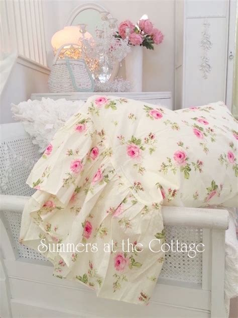 buttercup yellow pink roses ruffle pillow sham pillowcases shabby cottage chic