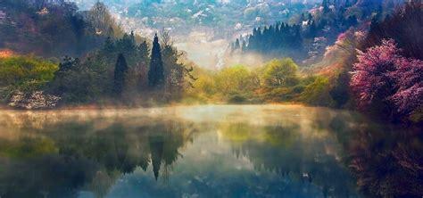 green korea wallpaper lakes superb memory spring sunrise lake blue light yello
