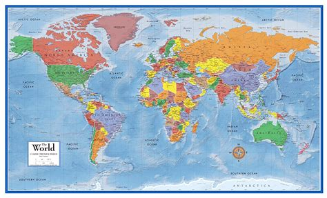 map world poster world map classic large laminated wall map 48x78