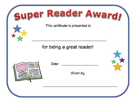 reading certificate template reading award certificate