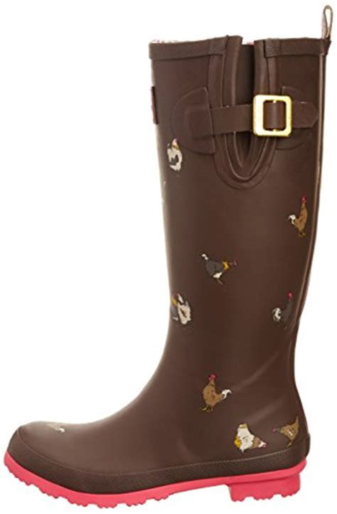 chicken boots joules welly print brown chicken s boots