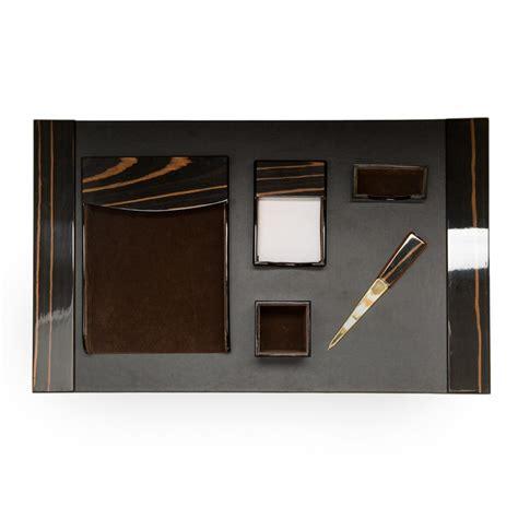 Black Desk Set by Bey Berk Wood Black Leather 6pc Desk Set