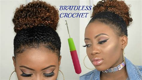 how to do a braidless braid with the topsy tail braidless crochet braids high messy bun jerry curl