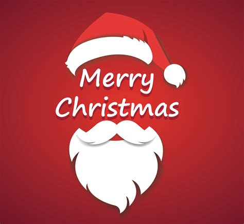 merry christmas vector concept red  christmas hat  santa white beard