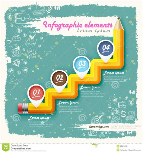pencil flowchart creative retro template with pencil stair flow chart stock