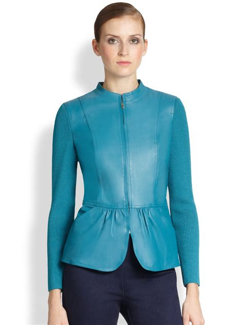 leather jacket with knit sleeves st leather knit sleeve jacket in blue teal lyst