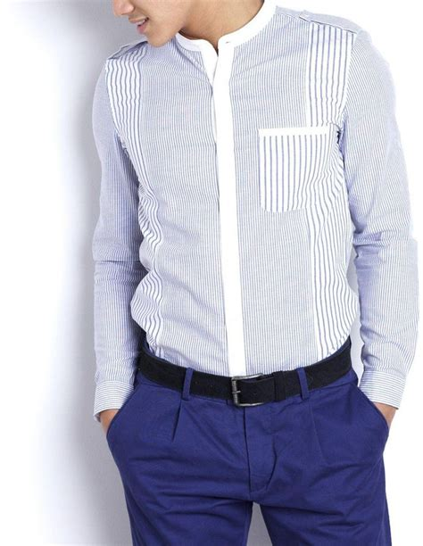 Kemeja Kenzo 43 camisa con cuello mao juego de rayas cuello mao y larga fashion