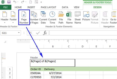 section 8 office number insert page numbers in excel 2010 2013