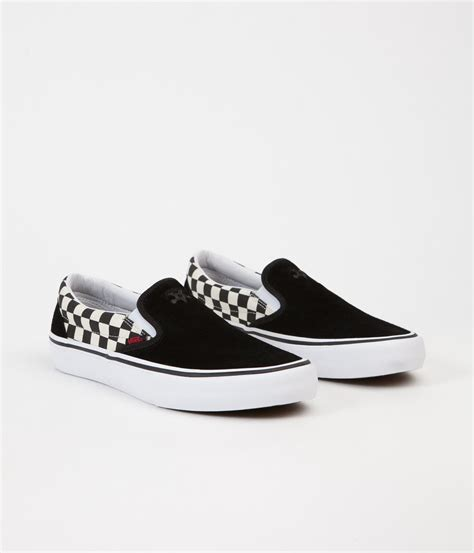 vans x thrasher slip on pro shoes black checkerboard flatspot