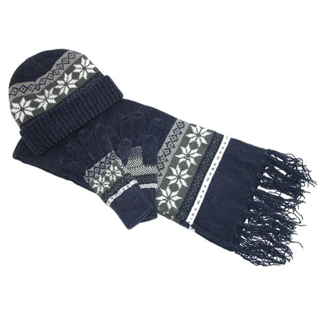 womens chenille snowflake print hat gloves and scarf