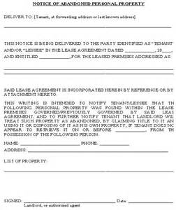 property management letter templates notice of abandoned personal property form property