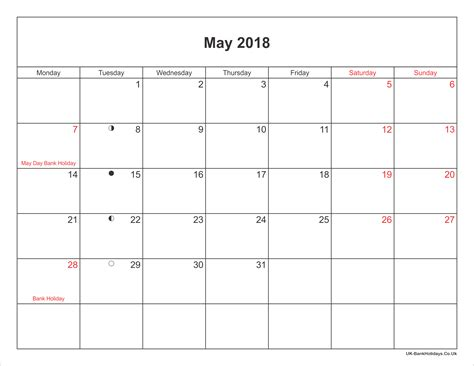 calendar printable  bank holidays uk