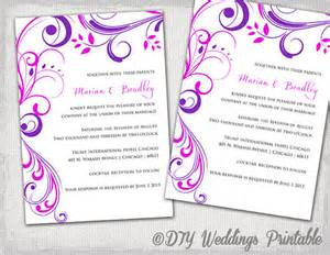 wedding invitation templates purple and pink quot scroll