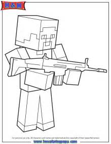 Steve with machine gun coloring page h amp m coloring pages