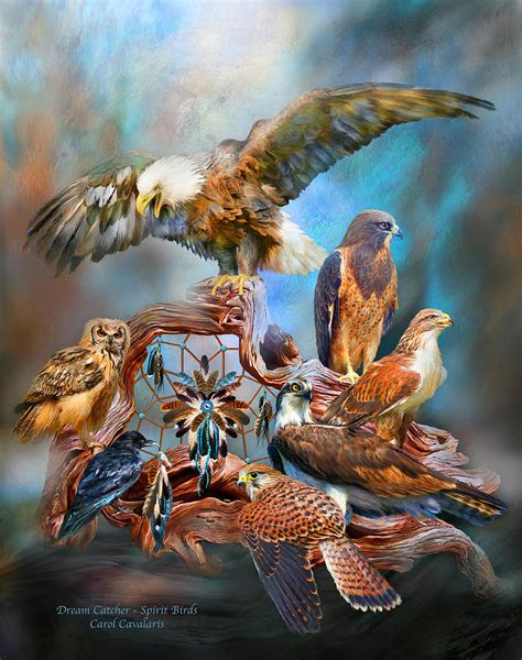 Owl Print Duvet Cover Dream Catcher Spirit Birds Mixed Media By Carol Cavalaris