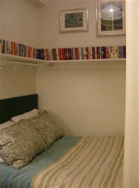 bed in a closet tiny bedroom bed in a closet pinterest the hook corner shelves and hooks