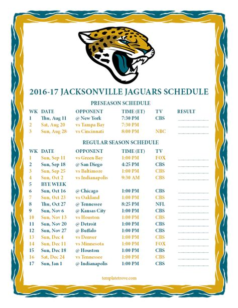 jacksonville jaguars scedule printable 2016 2017 jacksonville jaguars schedule