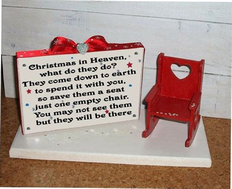 christmas in heaven craft in heaven wooden memory plaque save a chair all handmade can be personalised