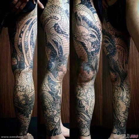 男性腿上霸气的龙纹身图案