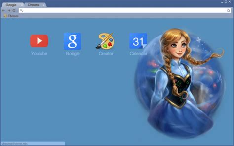themes google chrome frozen frozen anna theme chrome theme themebeta