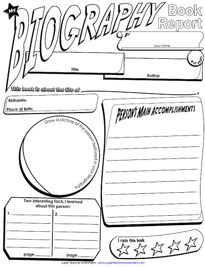 biography book report newspaper templates printable 6 best images of printable biography book report template